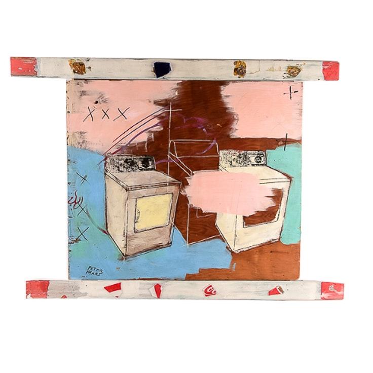 "Peter Mars ""Appliance Landscape"" Original Pop Art Painting on Wood"