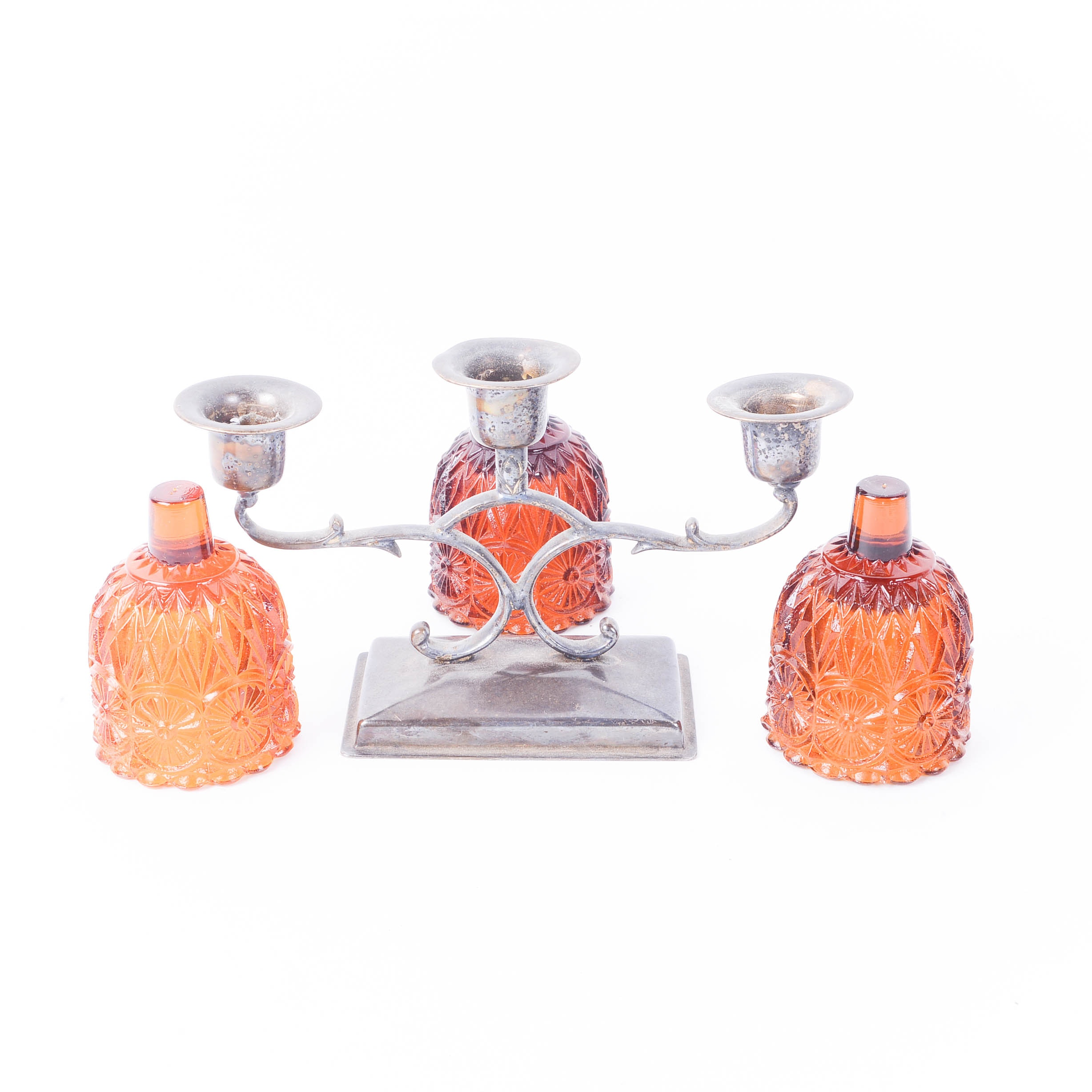 Silver Plated Candelabra with Amber Glass Candle Cups