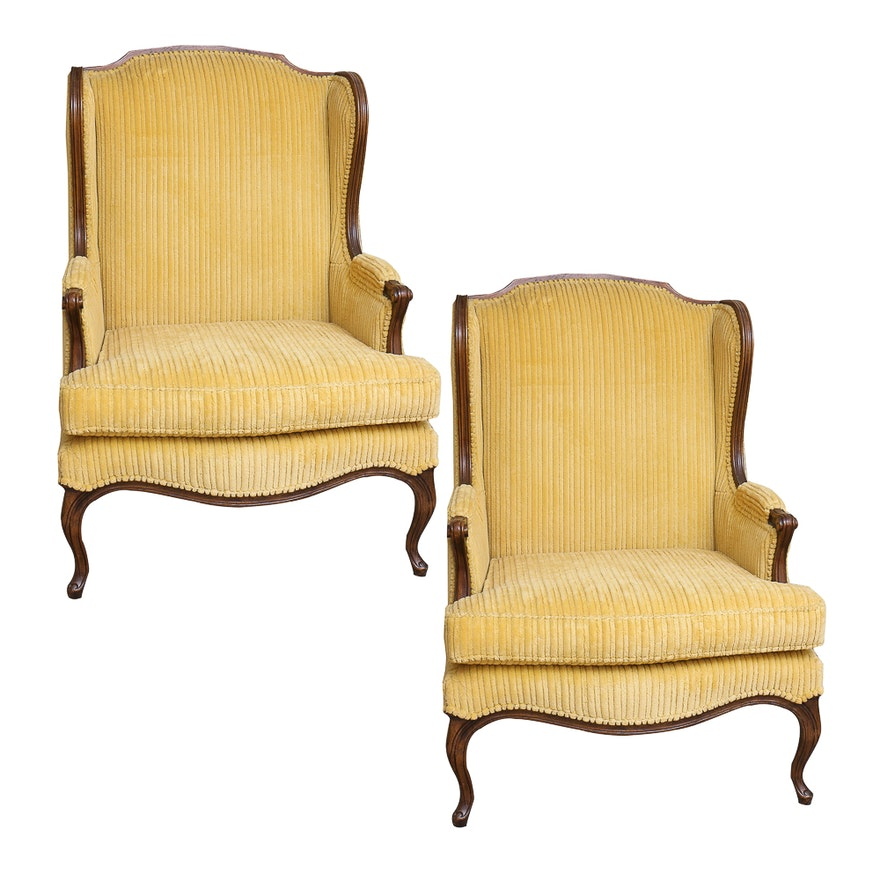 Vintage provincial louis xv style upholstered wing chairs