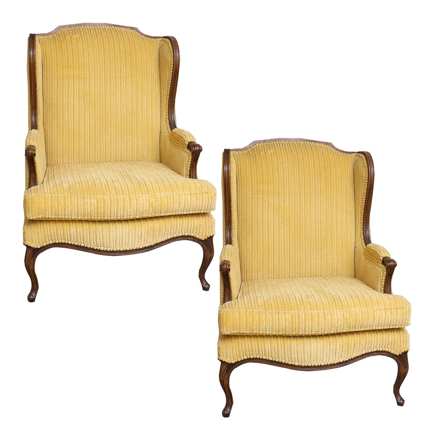 Wing chair bernhardt - Vintage Provincial Louis Xv Style Upholstered Wing Chairs By Bernhardt Hibriten