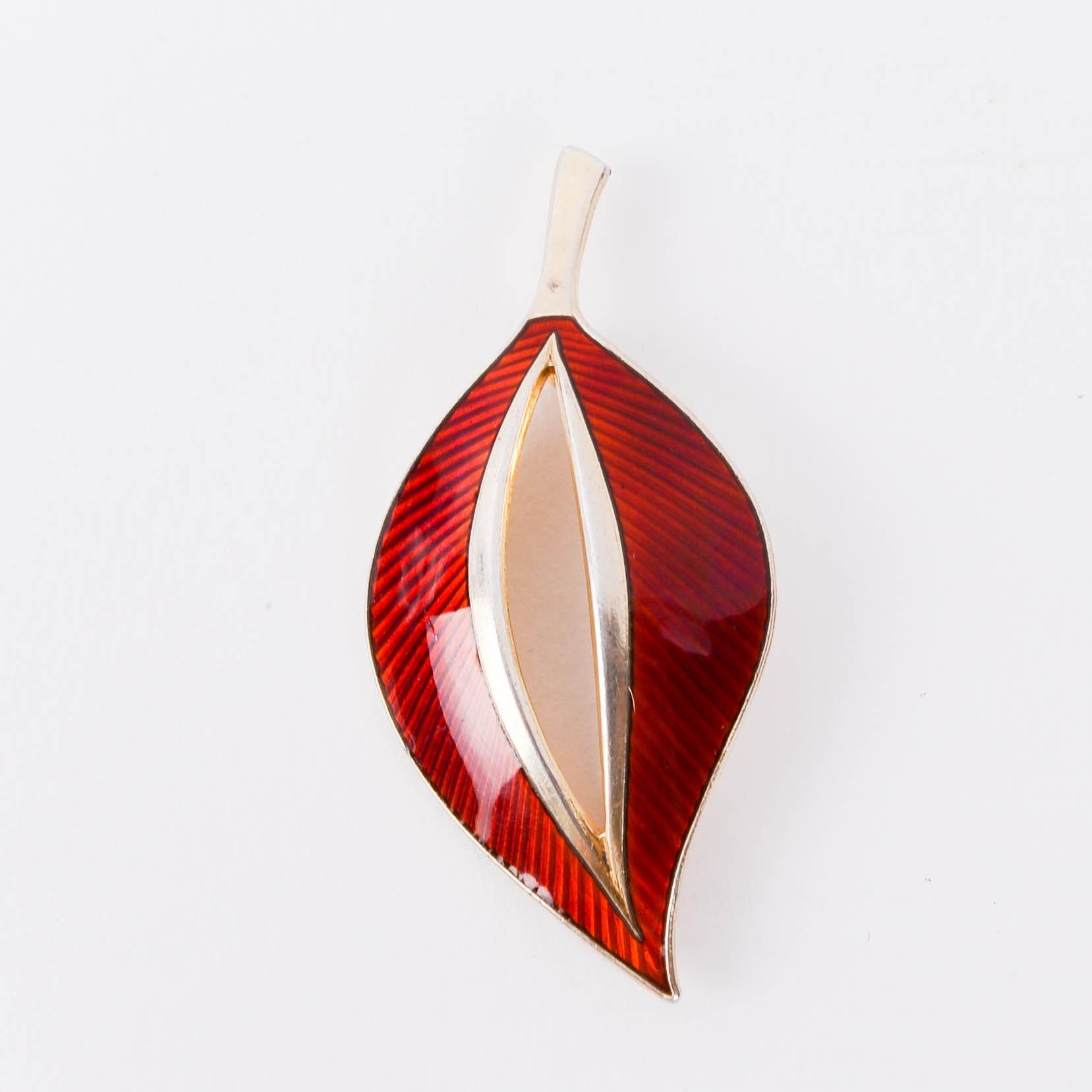 Aksel Holmsen Gold Plated Sterling Silver Red Enamel Norwegian Guilloche Leaf Brooch
