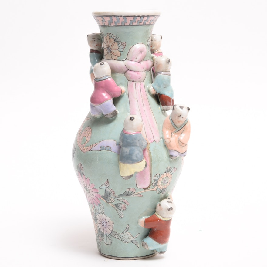 Chinese Pastel Painted Vase With Playing Children Ebth