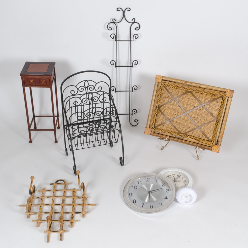 Decorative Home Items Including Stands And Clocks