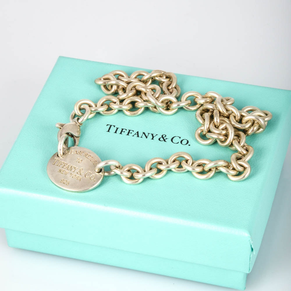 Sterling Silver Tiffany Tag Necklace