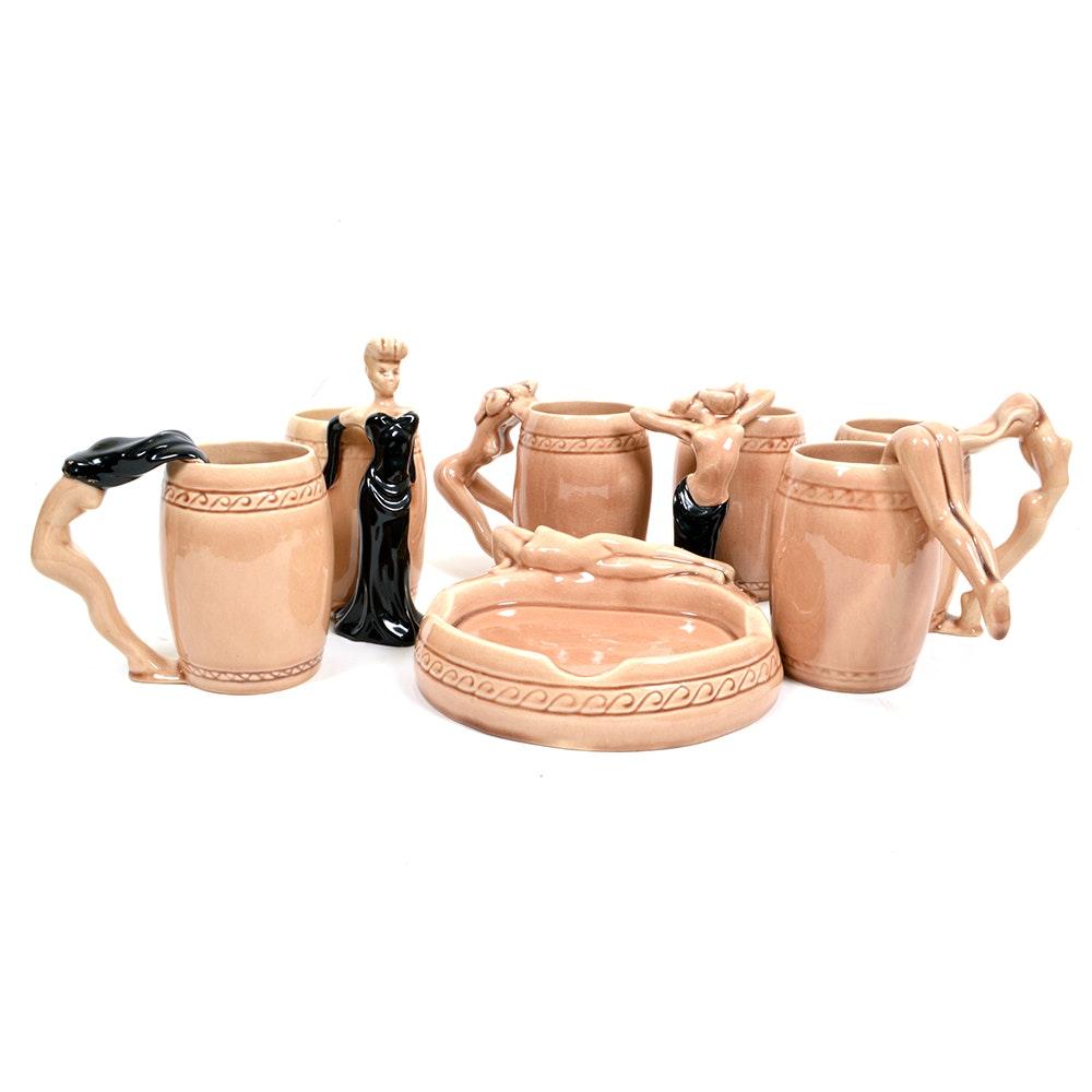 Seven 1950s Kindell Glazed Pottery Nudes