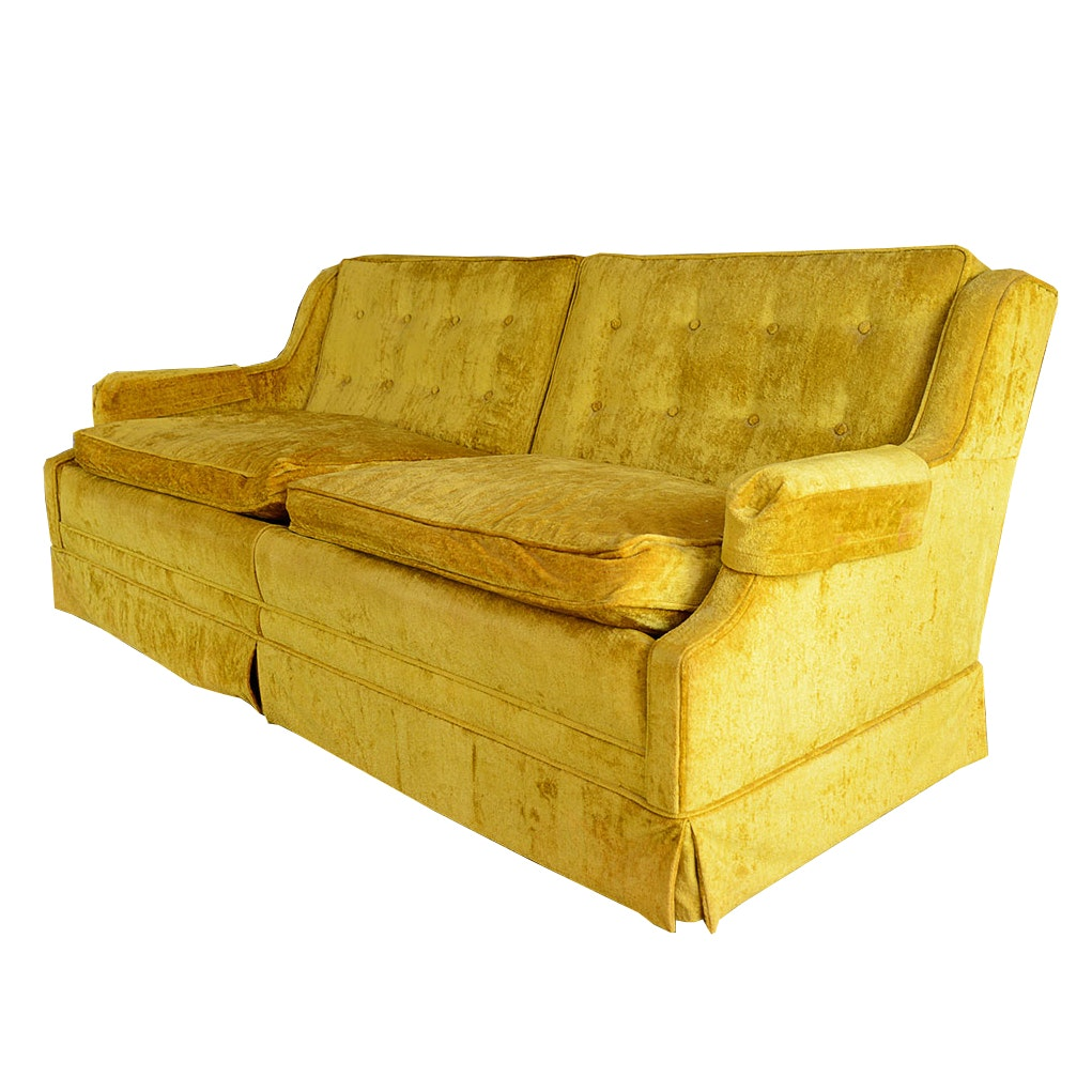 Circa 1960s Chartreuse Upholstered Sofa By Shaw ...