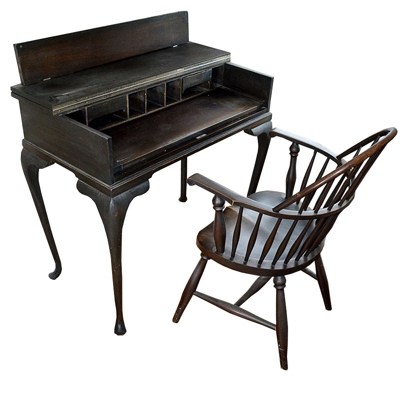 Mahogany Spinet Top Writing Desk By Colonial Manufacturing