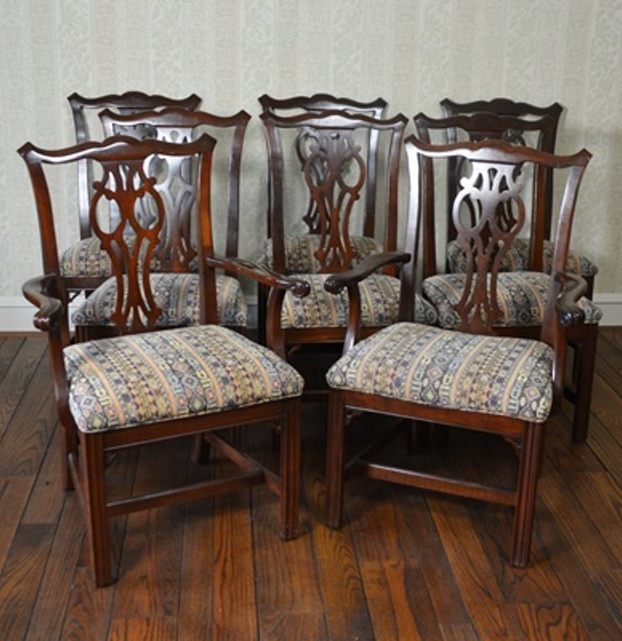 Ethan allen chippendale style dining room chairs ebth for Ethan allen dining room