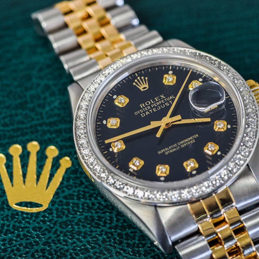 d1741a3439c Men s Rolex Datejust Two-Tone 18K Yellow Gold and Diamond Wristwatch with  Jubilee Bracelet .