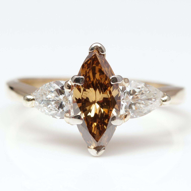 14K Yellow Gold 2.00 Carat Cognac Diamond Ring