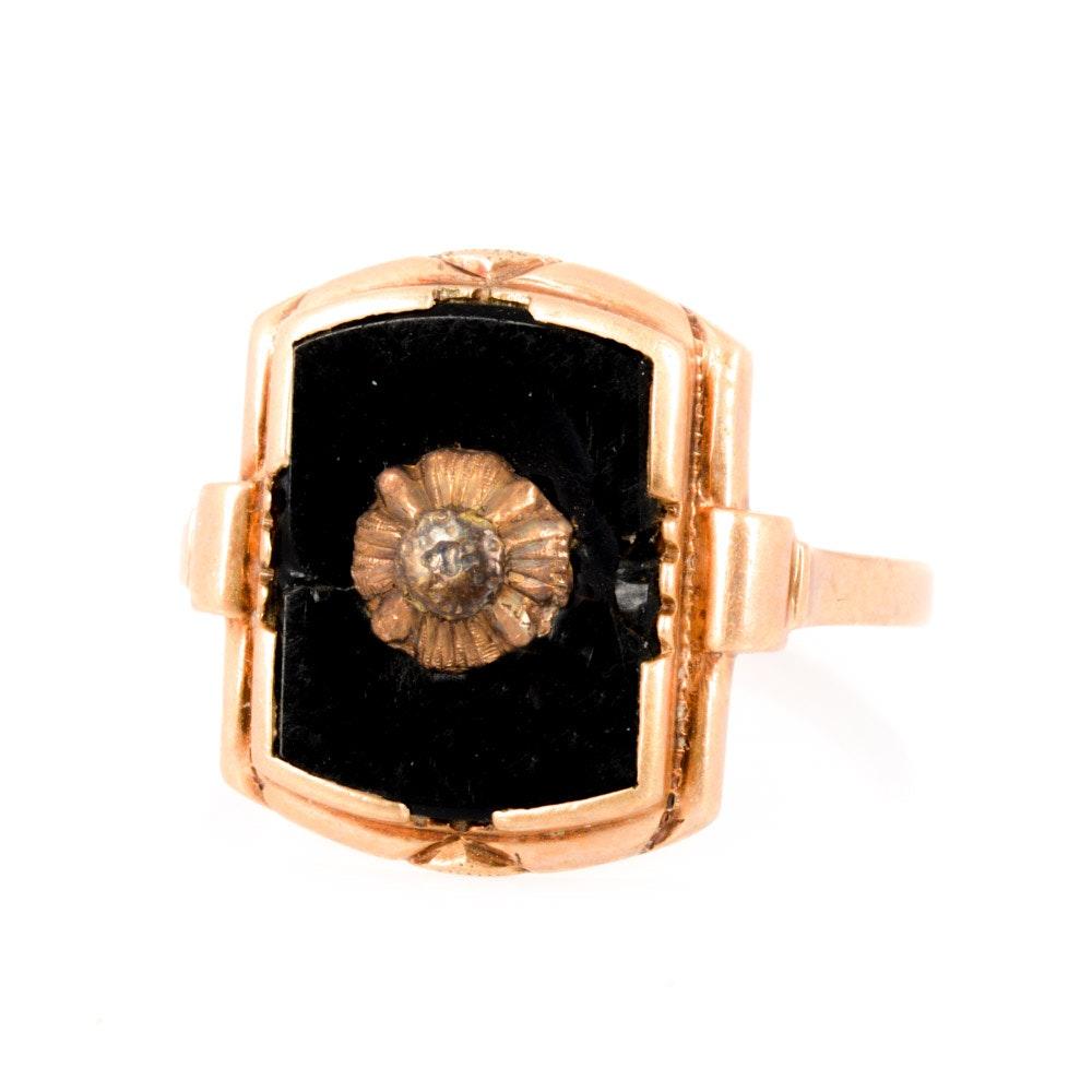 10K Yellow Gold Onyx Ring