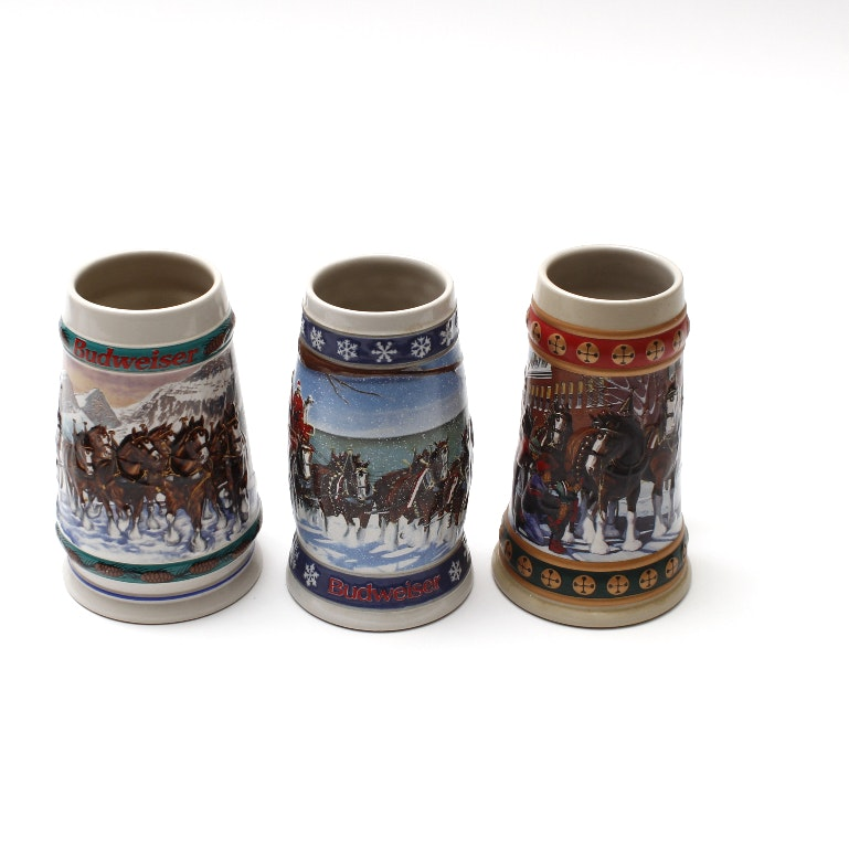 Collection of Budweiser Beer Steins