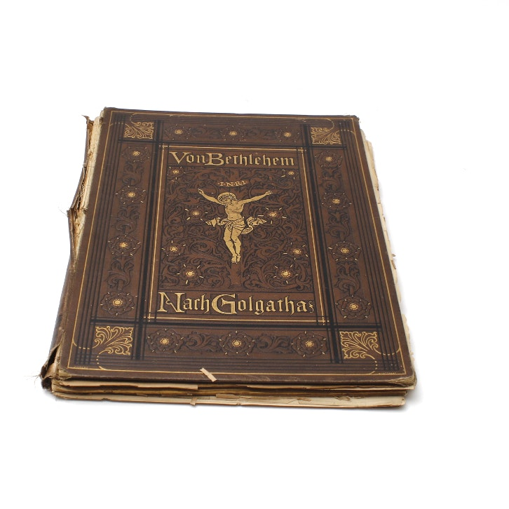 "Vintage Cloth Bound Book, ""From Bethlehem to Golgotha"""