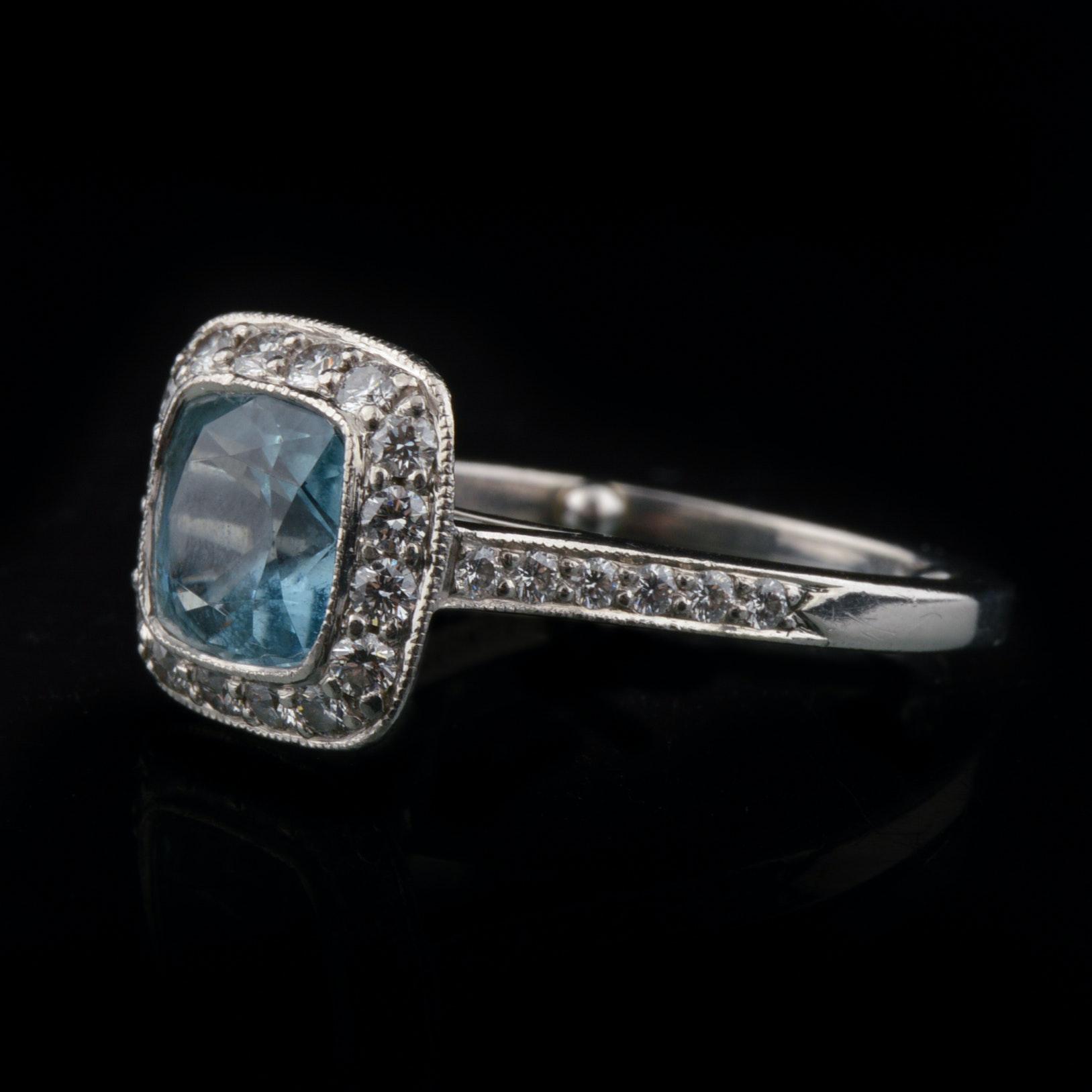 Tiffany & Company Platinum Aquamarine and Diamond Ring
