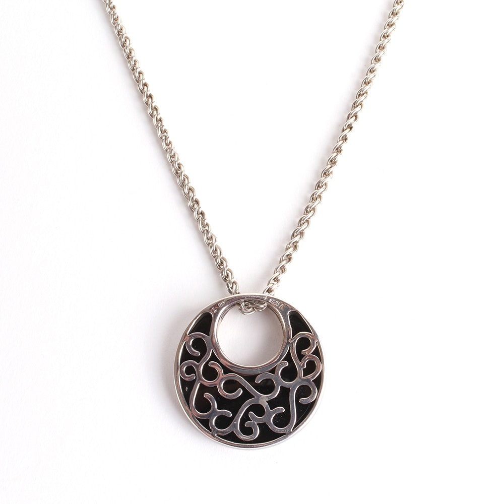 Sterling Silver and 18K Yellow Gold Black Onyx Pendant