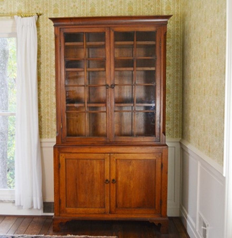 Pine China Cabinet Hutch: Vintage Pine China Cabinet : EBTH