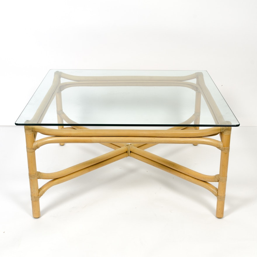 Bamboo Glass Top Coffee Table EBTH - Bamboo end table glass top