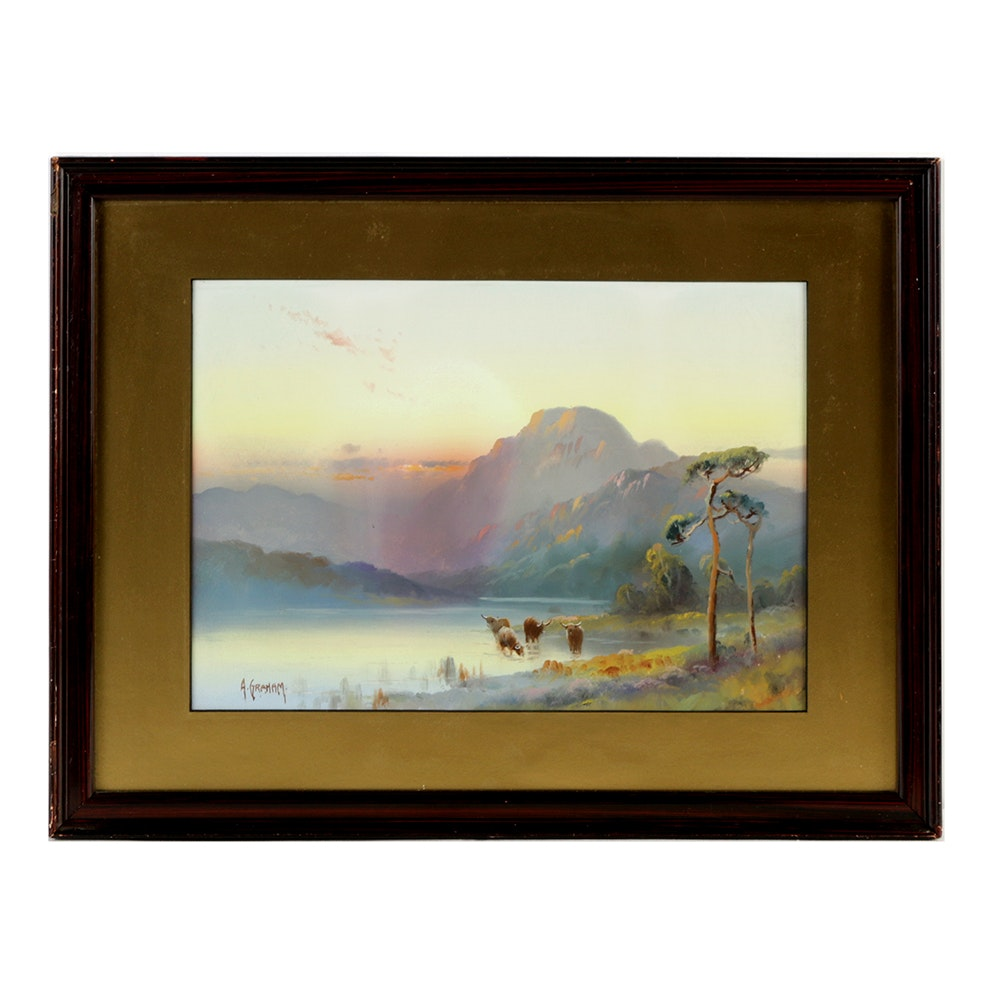 Alexander S. Graham Watercolor Painting of Highland Cattle