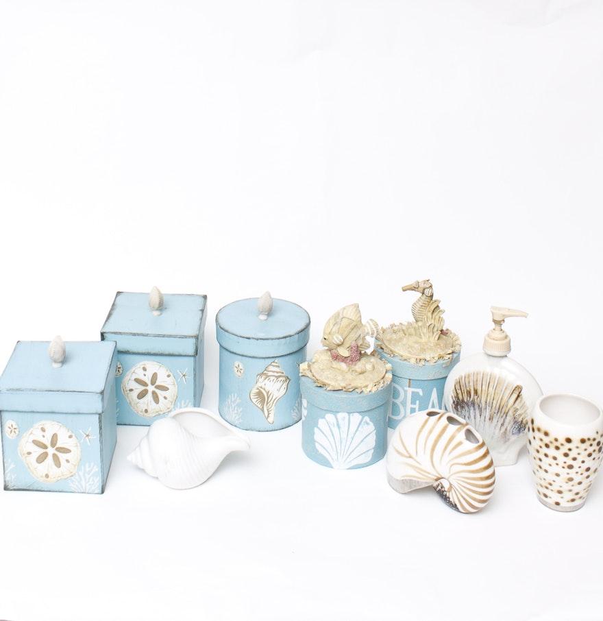 collection of shell motif bathroom decor ebth