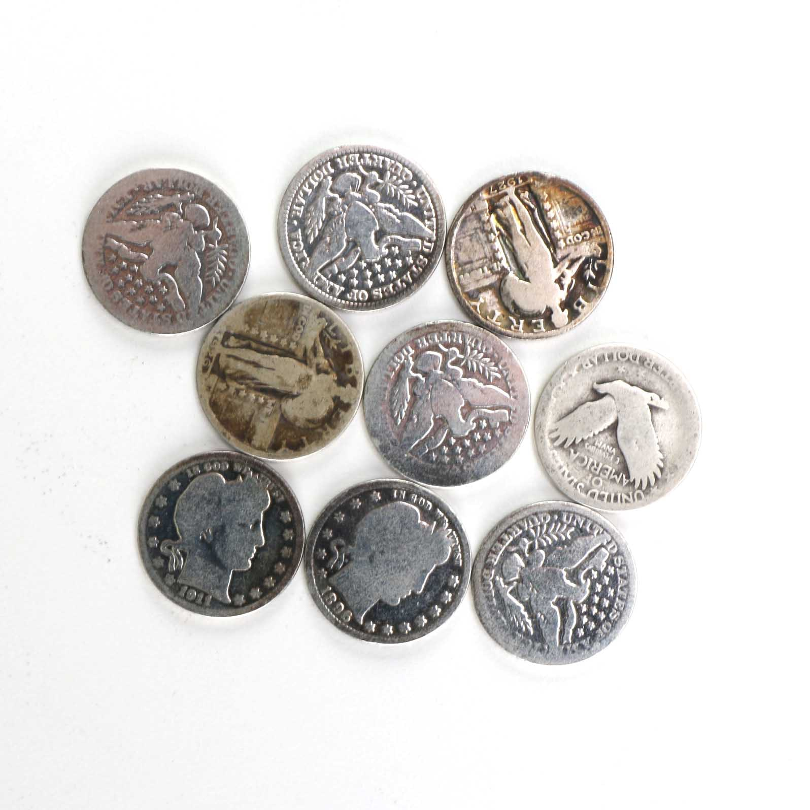 Assortment of Silver Barber and Standing Liberty Quarters