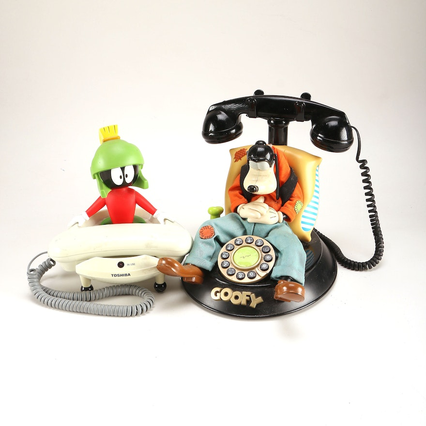Marvin The Martian and Goofy Touch Dial Telephones