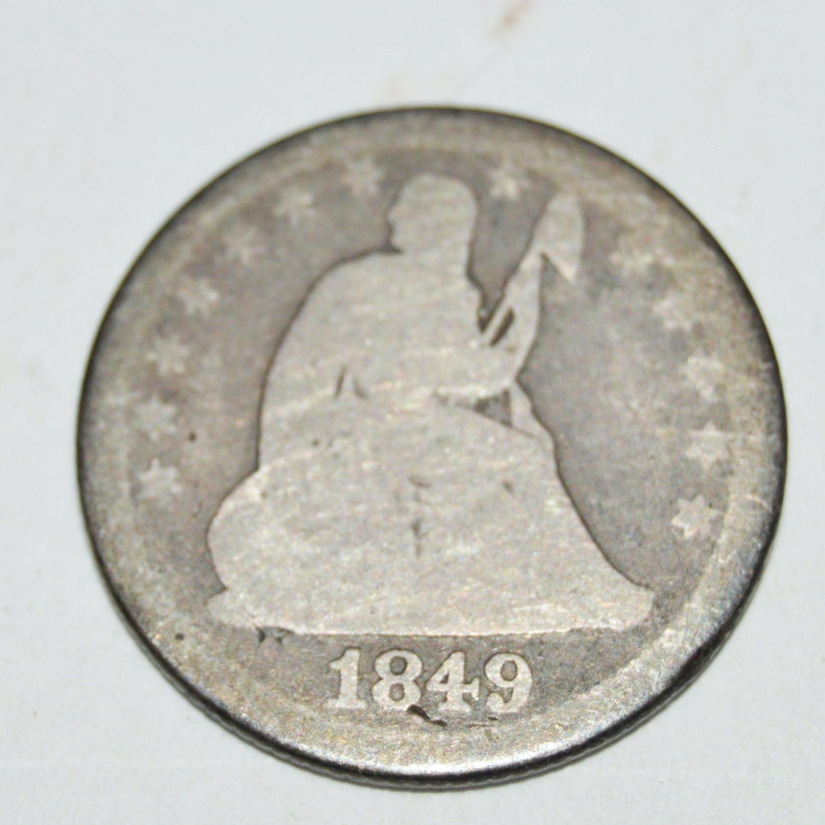 1849-O Seated Liberty Quarter