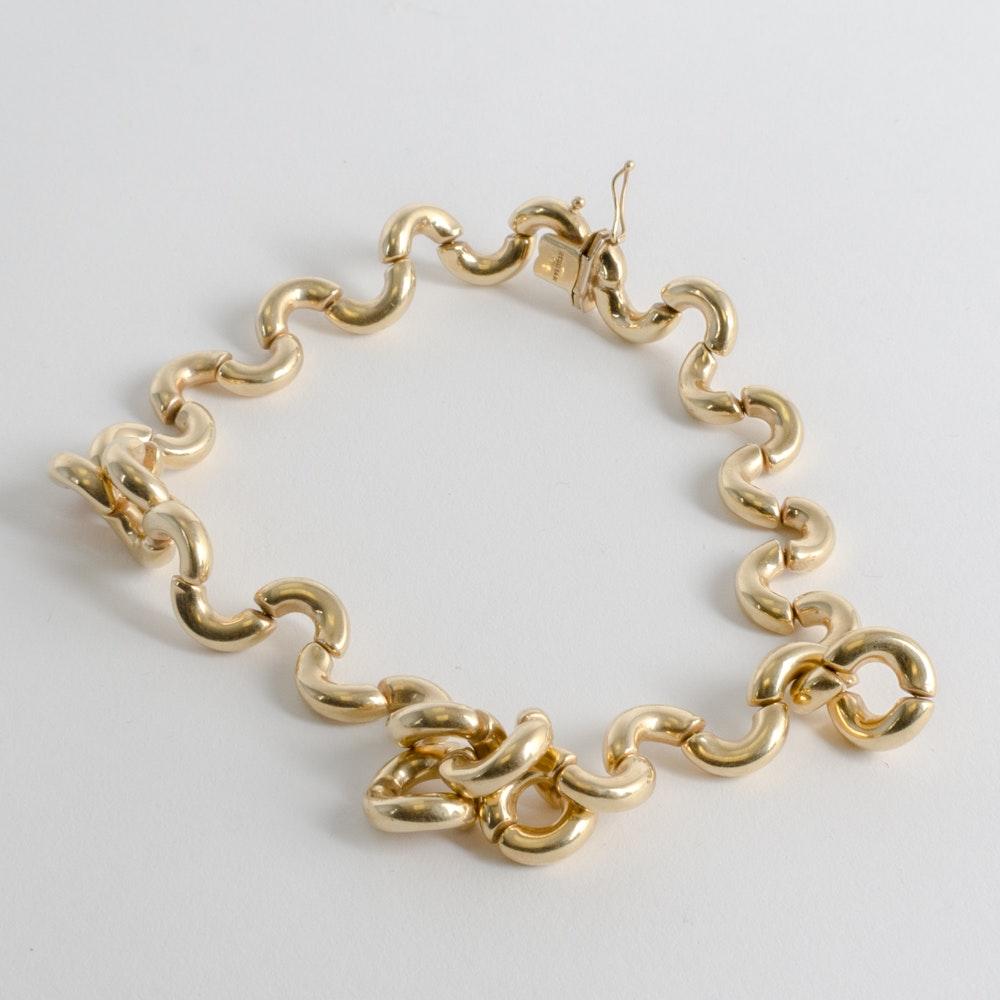 14 Karat Gold Macaroni Necklace