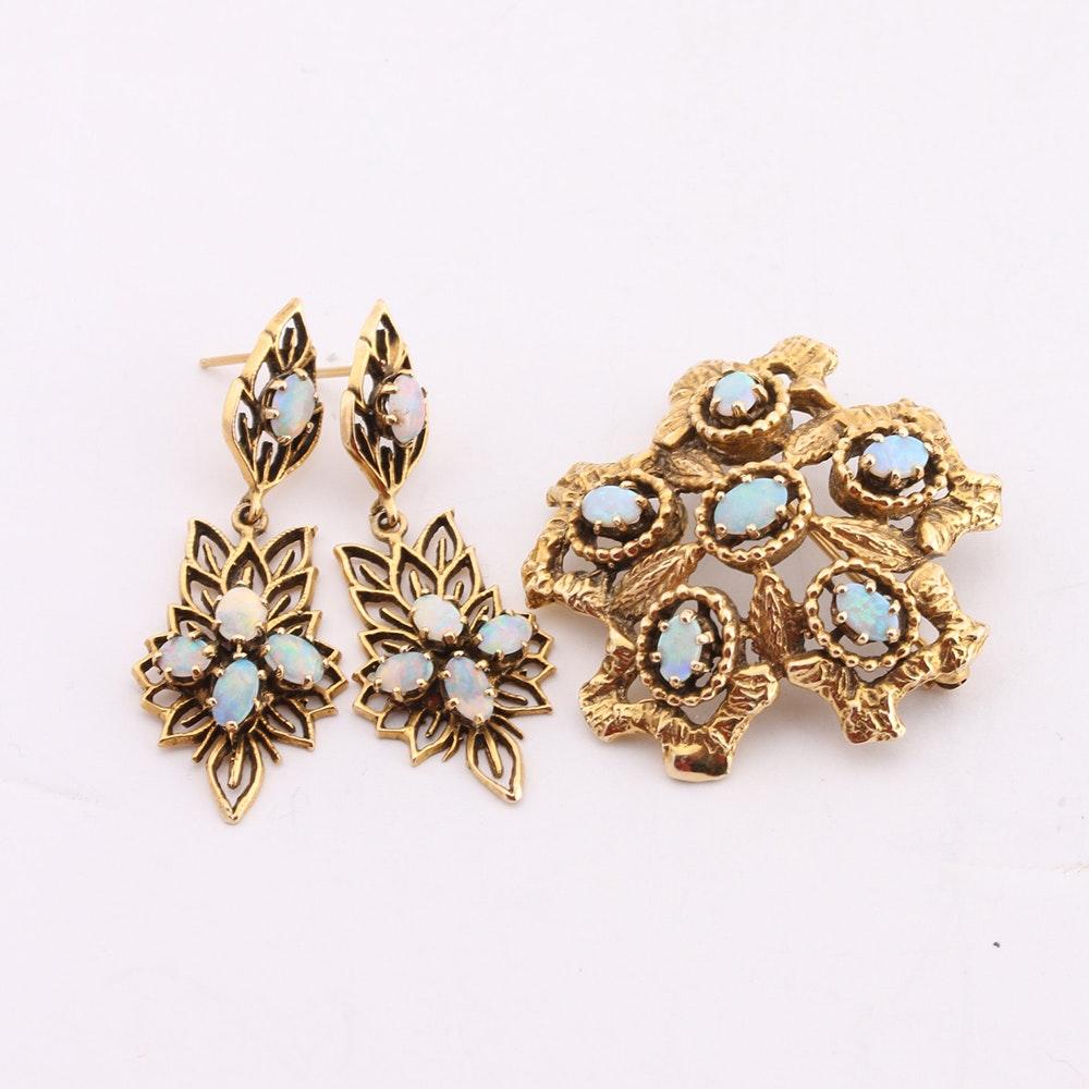 14K Yellow Gold Opal Brooch Pendant and Earrings