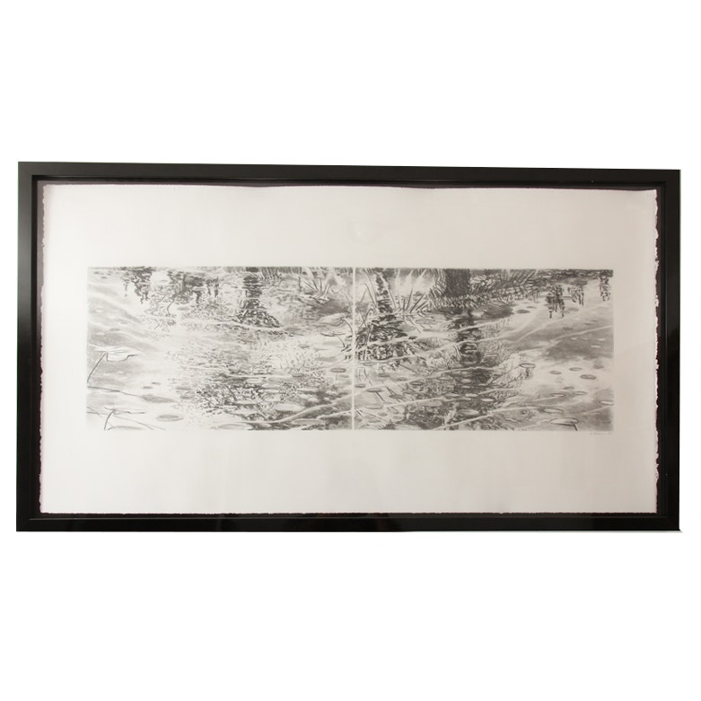 """""""Loose Park Pond with Coy"""" Charcoal Drawing by Lee Bowers"""