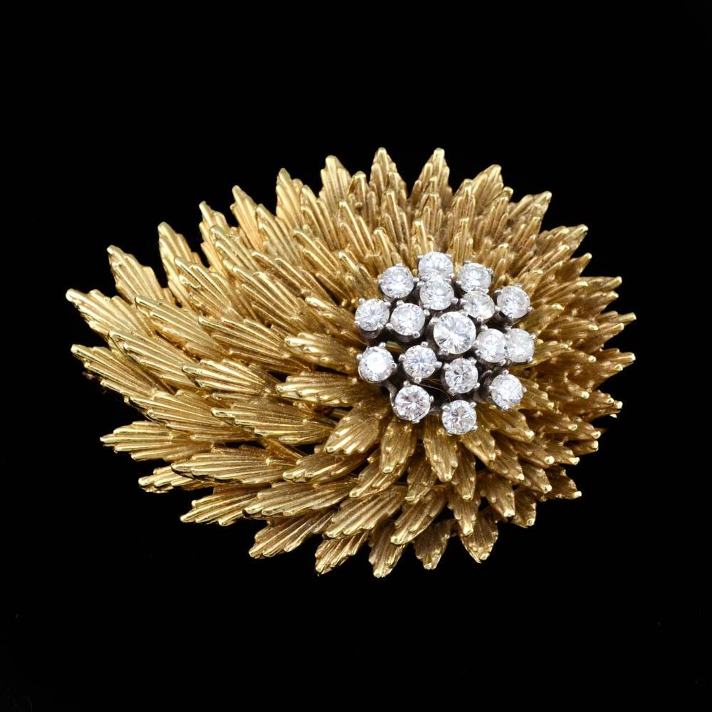 18K Yellow Gold Diamond Stylized Fur Clip/Brooch/Pendant