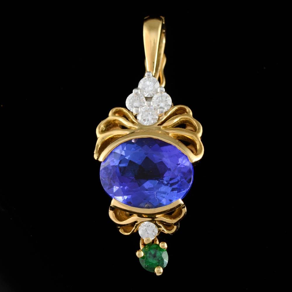 18K Yellow Gold, Platinum, Tanzanite, Tsavorite Garnet and Diamond Openwork Pendant