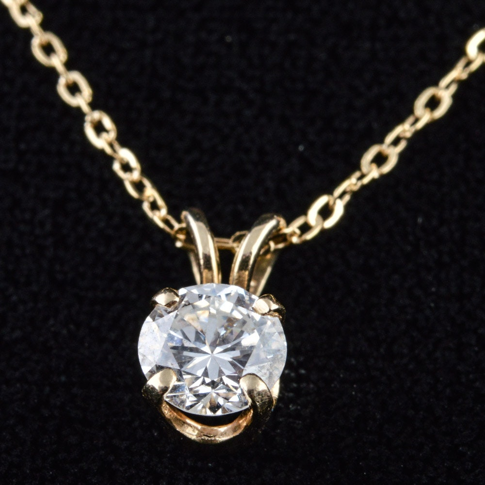 14K Solid Gold 0.50 CT Diamond Pendant and Chain