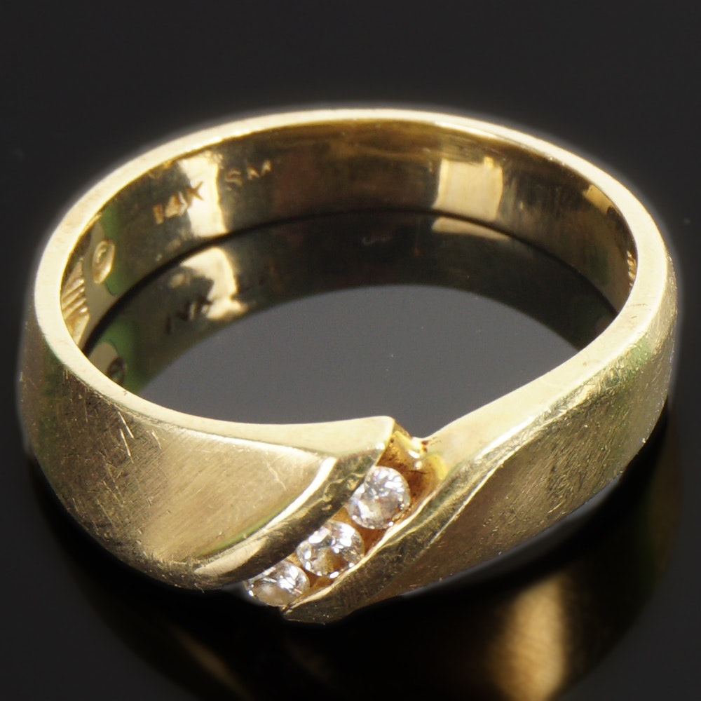 14 K Yellow Gold and Diamond Ring