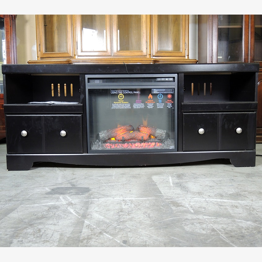 Ashley Electric Fireplace Insert With Black Entertainment Cabinet ...