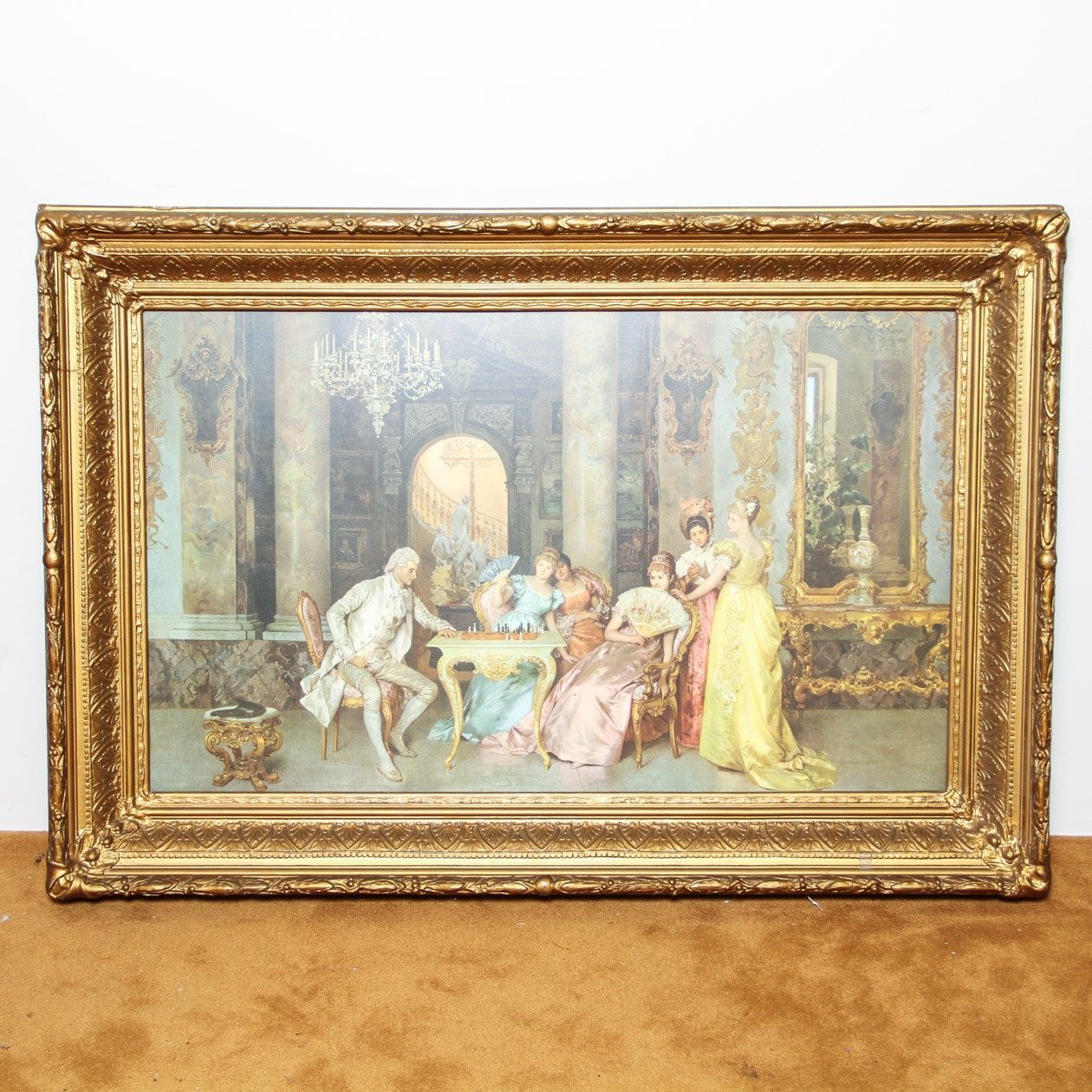 The Chess Game Lithograph After Francesco Beda Ebth