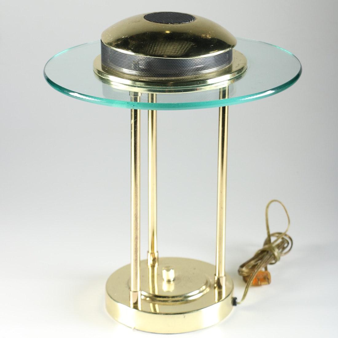 Halogen Brass Tone And Glass Desk Lamp Ebth