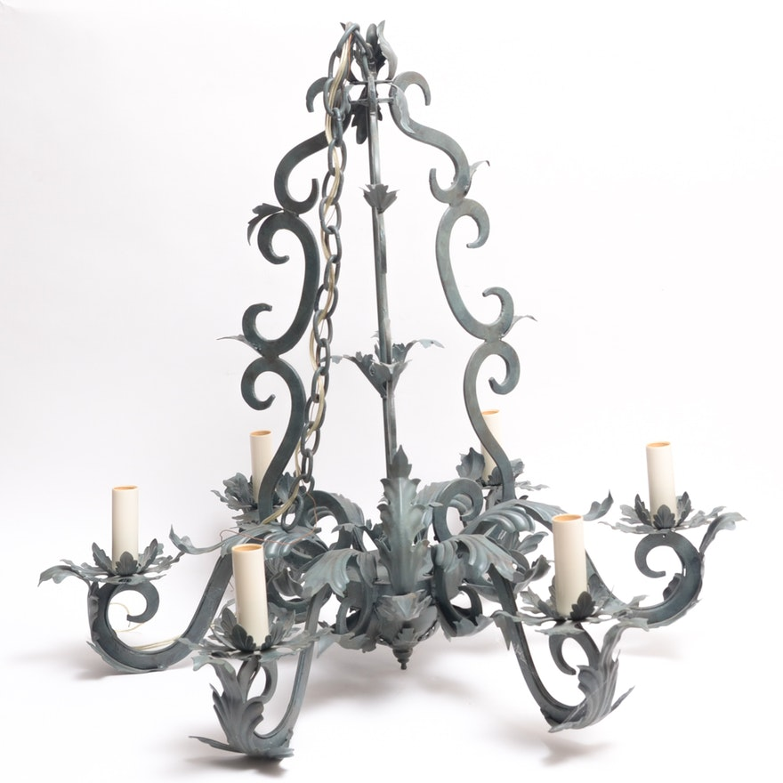 Stamped metal acanthus leaf chandelier ebth stamped metal acanthus leaf chandelier aloadofball Choice Image