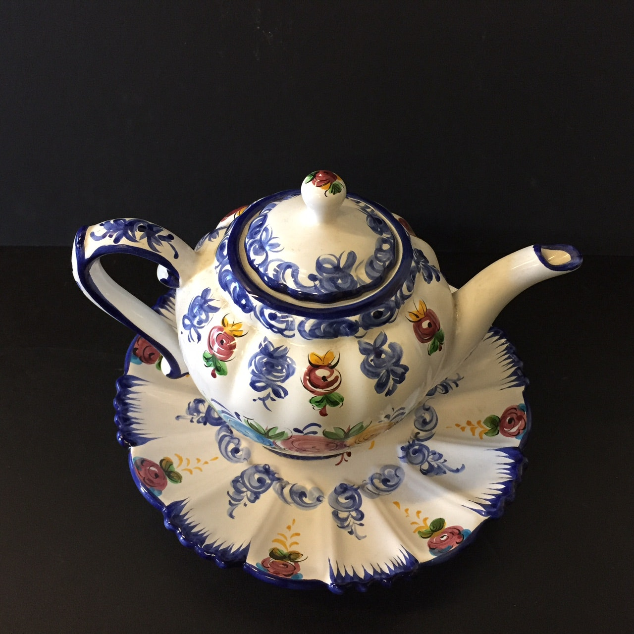 Hand Painted Portugal Tea Pot and Plate