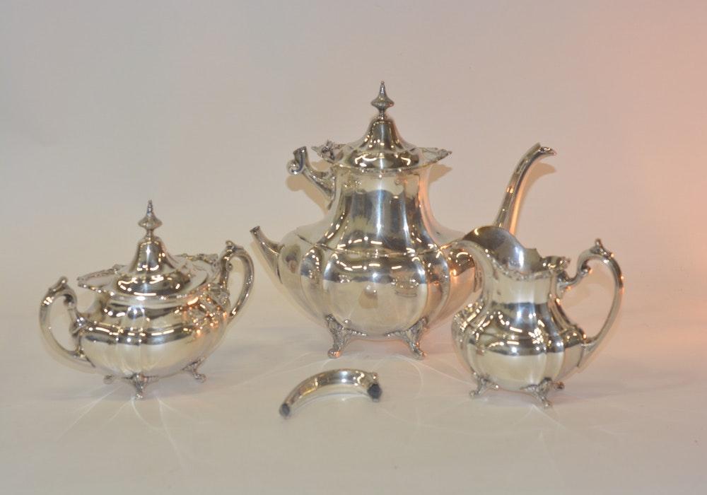 "Reed & Barton Sterling Silver ""Hampton Court"" Tea Service"