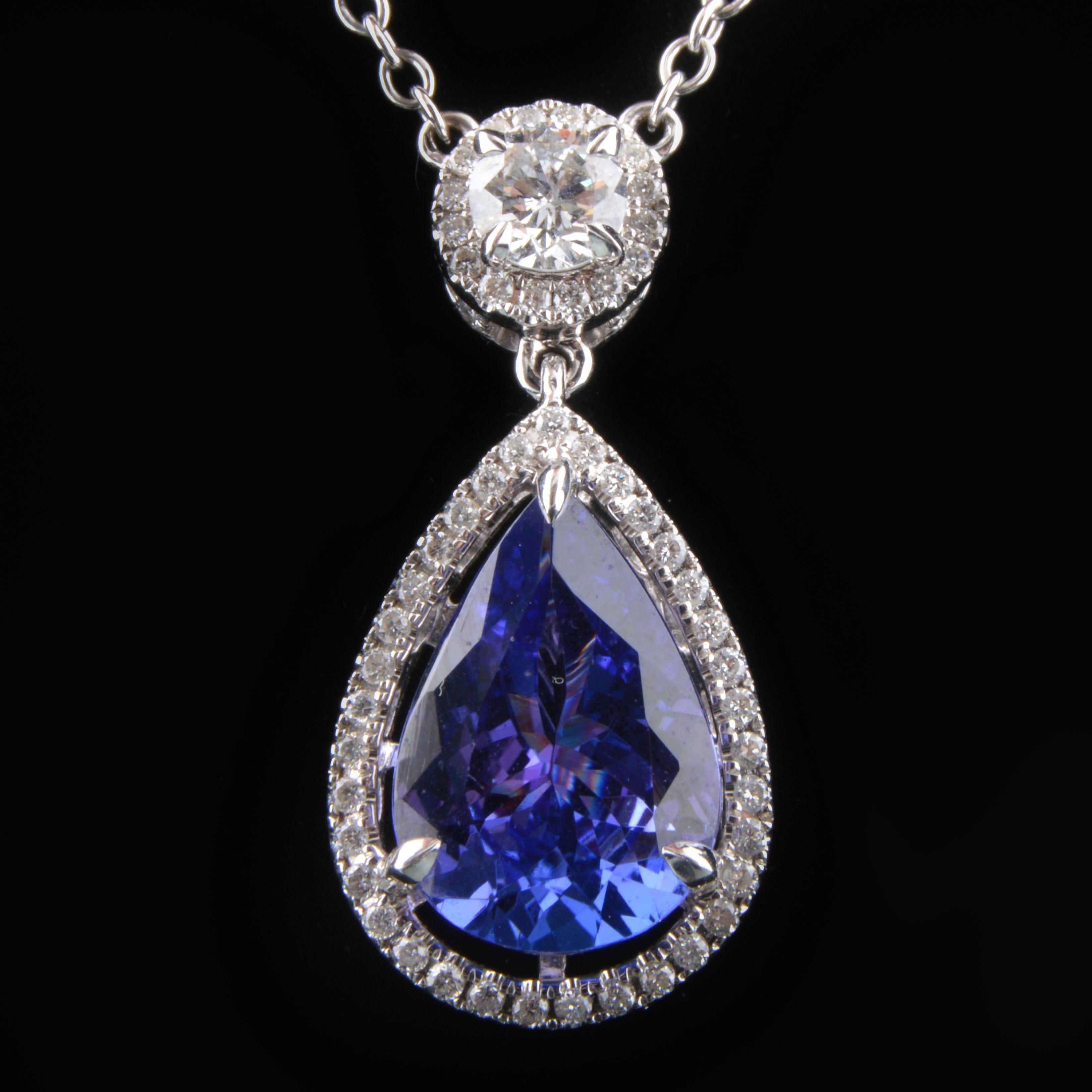 18K White Gold Tanzanite and Diamond Pendant Necklace