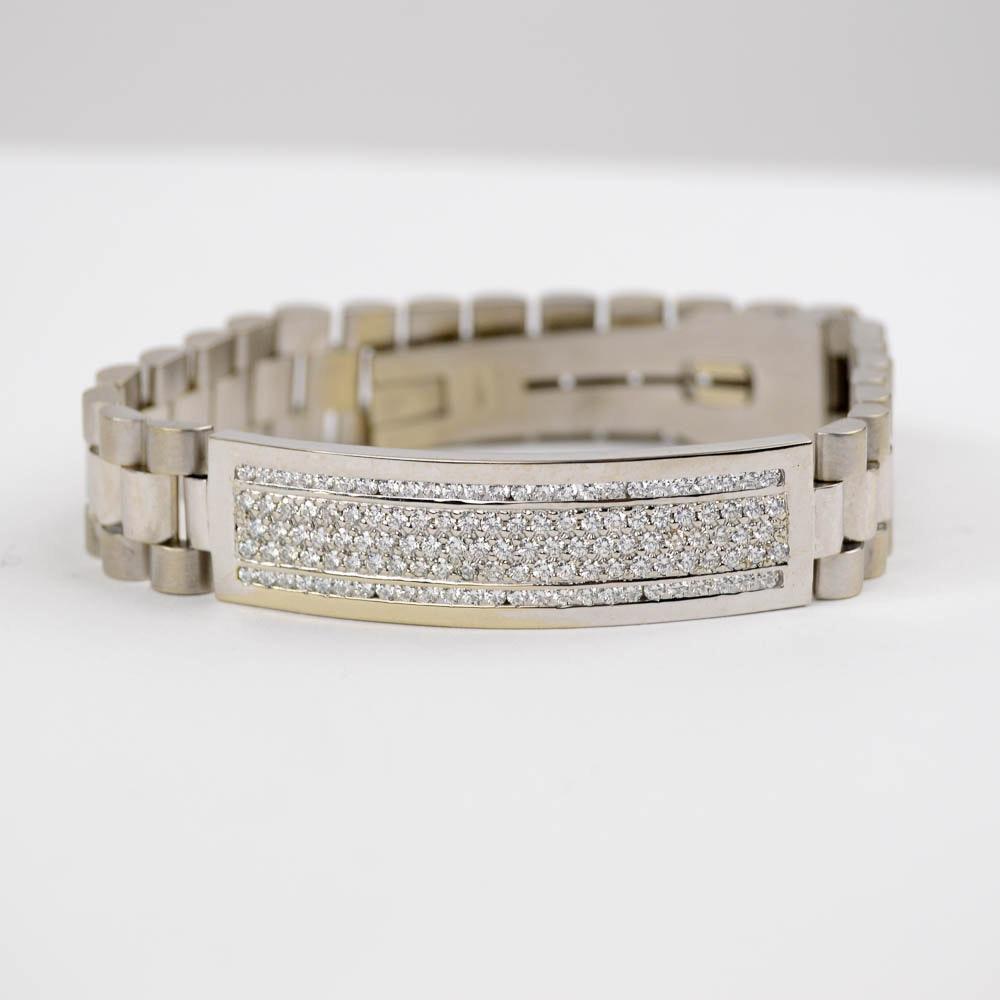 18K White Gold Men's Diamond Bracelet