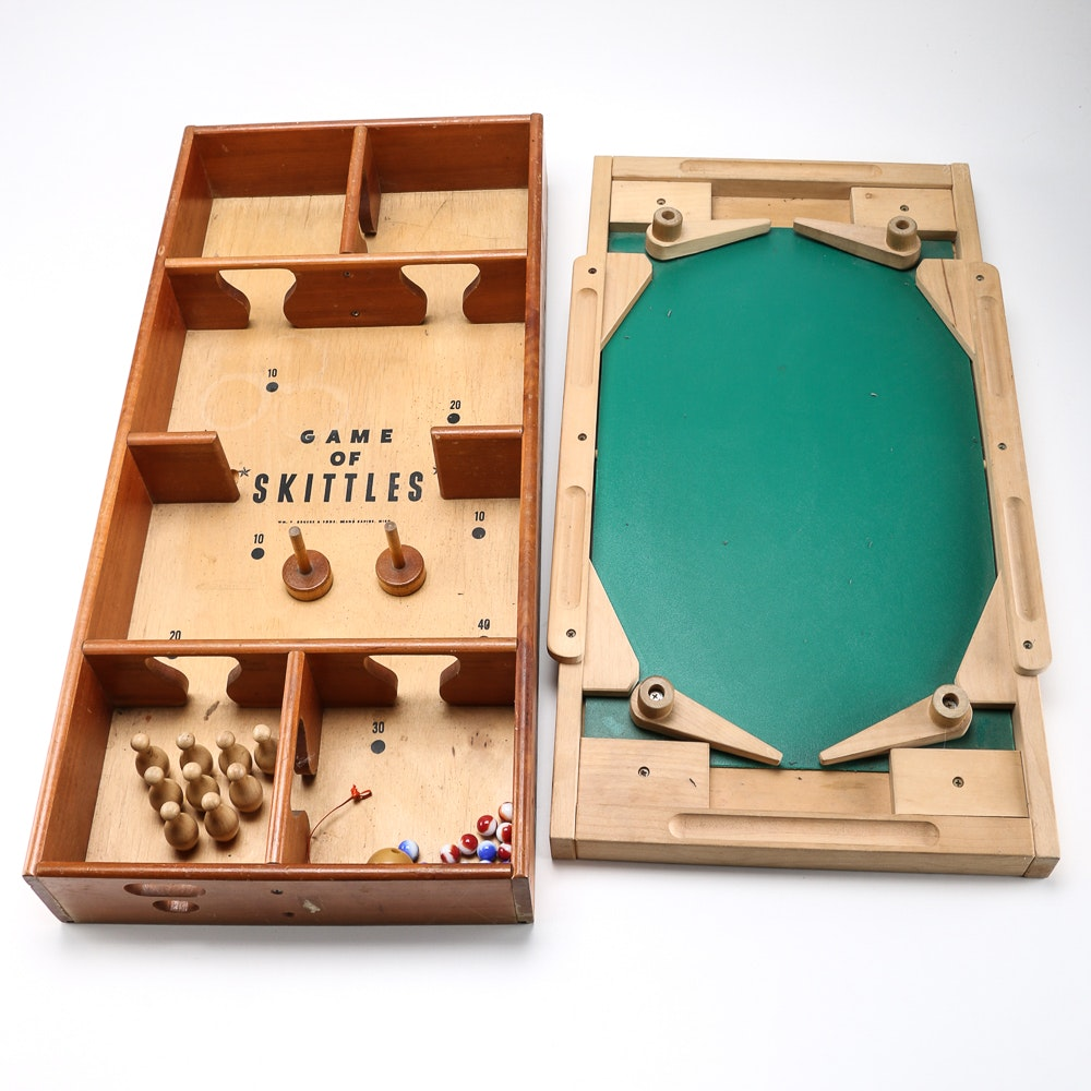 Superieur Wooden Tabletop Games Featuring Pinball And Skittles ...