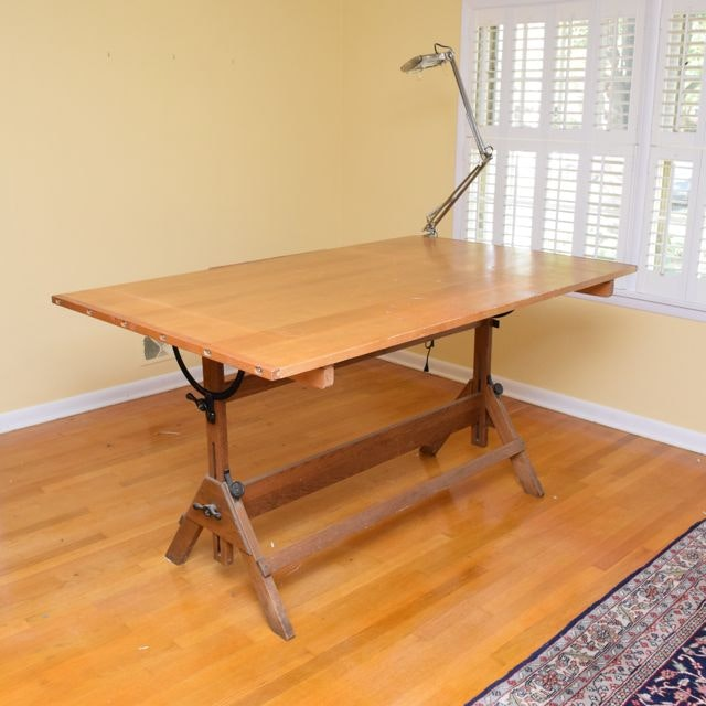 Hamilton Pine Drafting Table Ebth