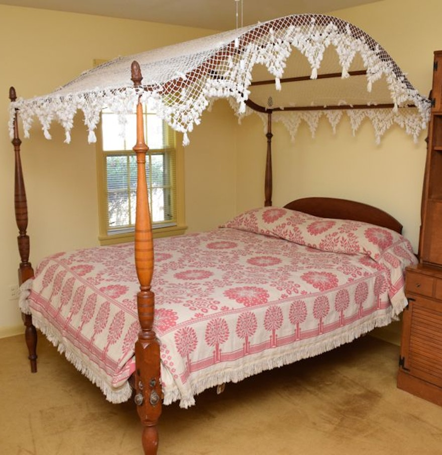 antique queen sized four poster pine bed - Antique Queen Bed Frame