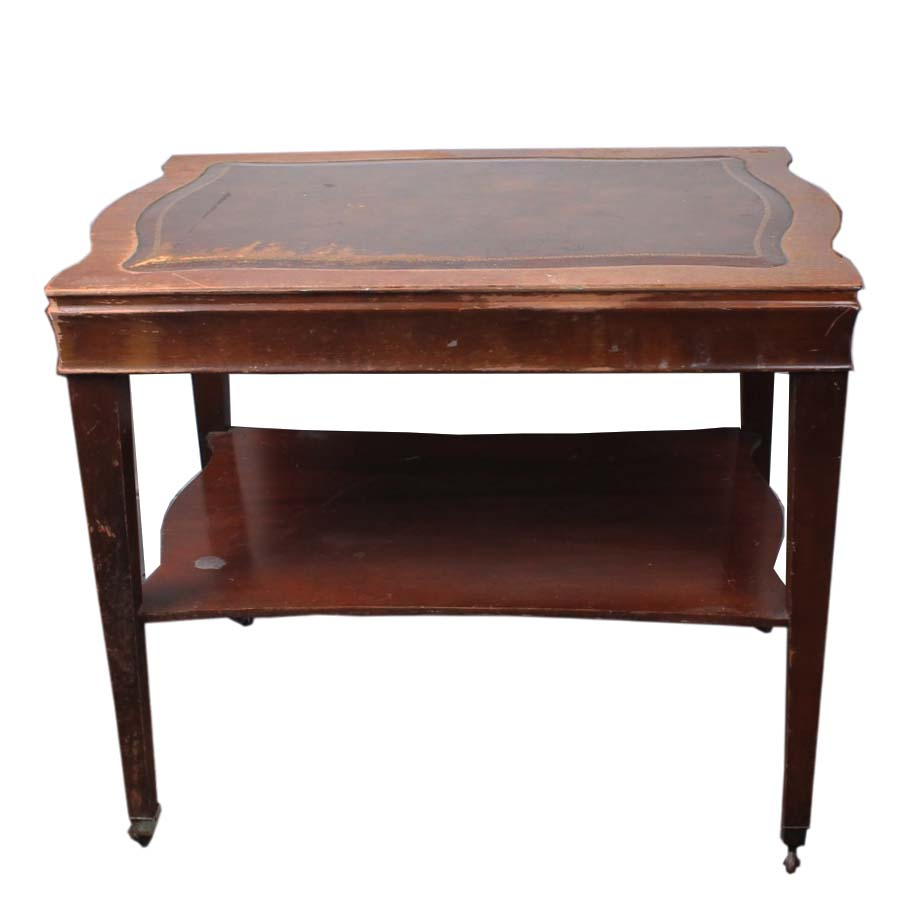 Vintage End Table with Leather Inlay EBTH