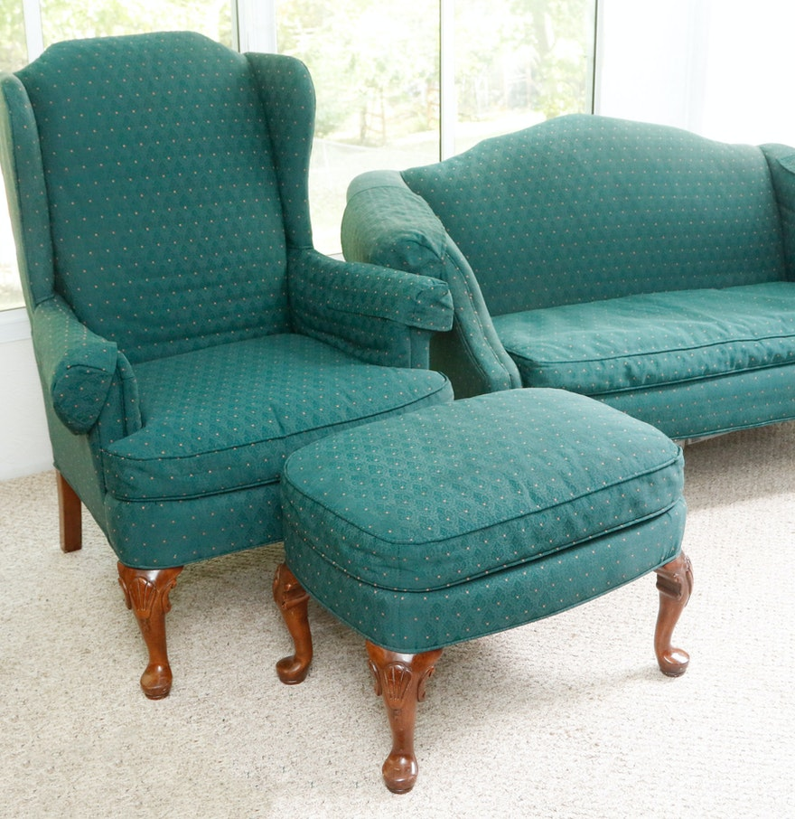 Teal wingback chair - Clayton Marcus Upholstered Settee Wingback Chair And Ottoman