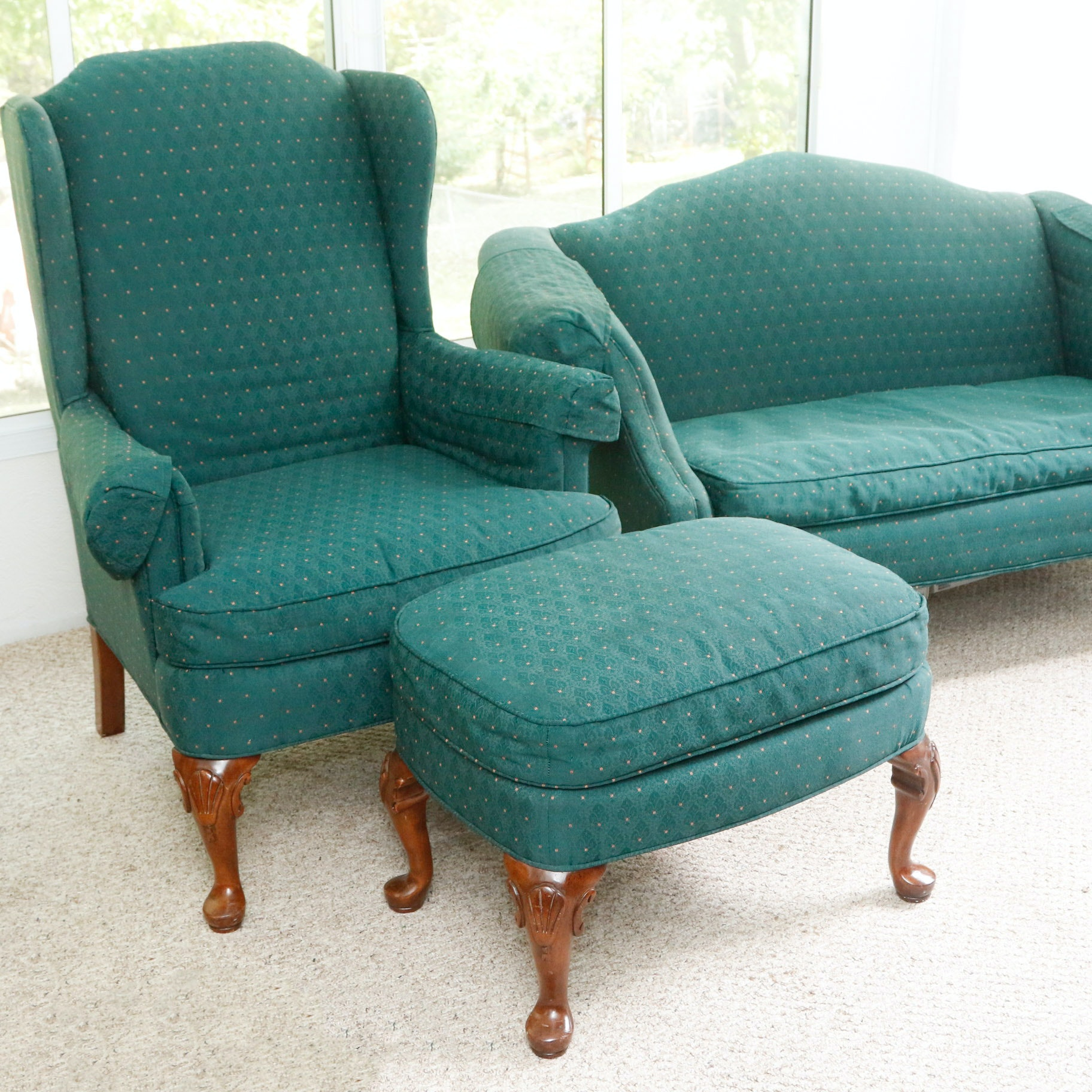 Clayton Marcus Upholstered Settee, Wingback Chair And Ottoman ...