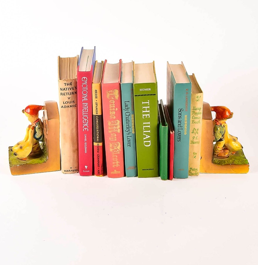 Pair Of Hummel Style Bookends With Books Ebth