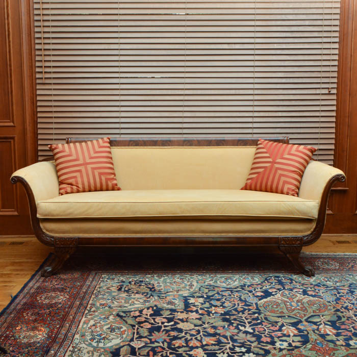 Duncan Phyfe Yellow Leather Couch And Pillows