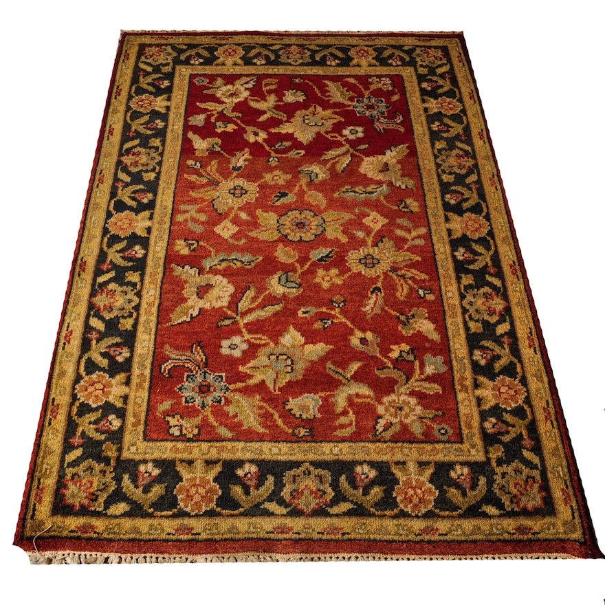 Hand Knotted Indo Persian Obeetee Wool Area Rug Ebth: Hand Woven Indo Persian Rug